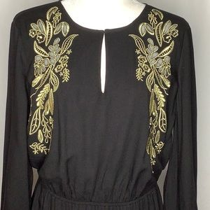 World Market 100% Viscose Black Gold Dress L/XL